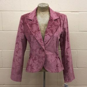 Star City rose etched velour single button blazer